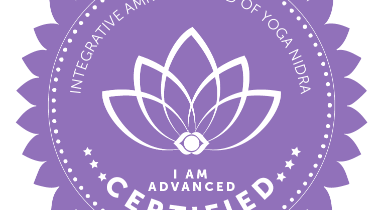The image is certification emblem from Amrit Institute of Yoga Nidra indicating Toni B is an Advanced Yoga Nidra Faciltator.
